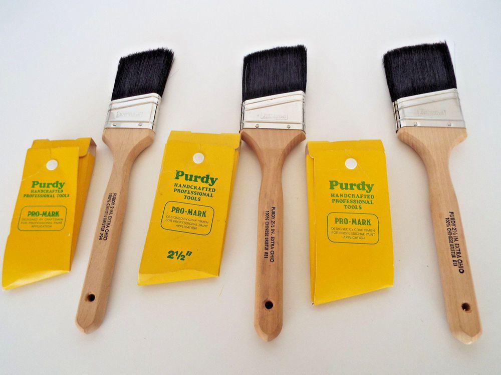 3 Vintage Purdy Extra Ohio Paint Brushes 2 2 5 100 Chinese Bristle Paintbrush Purdy Vintage Hardware Vintage Purdy