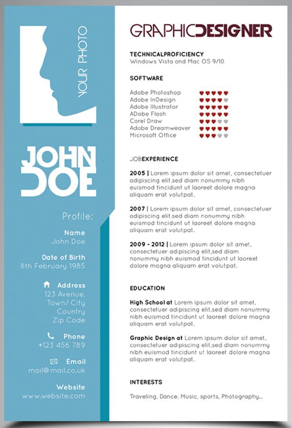 25 Creative Examples Of Free Resumes Psd Graphic Design Resume