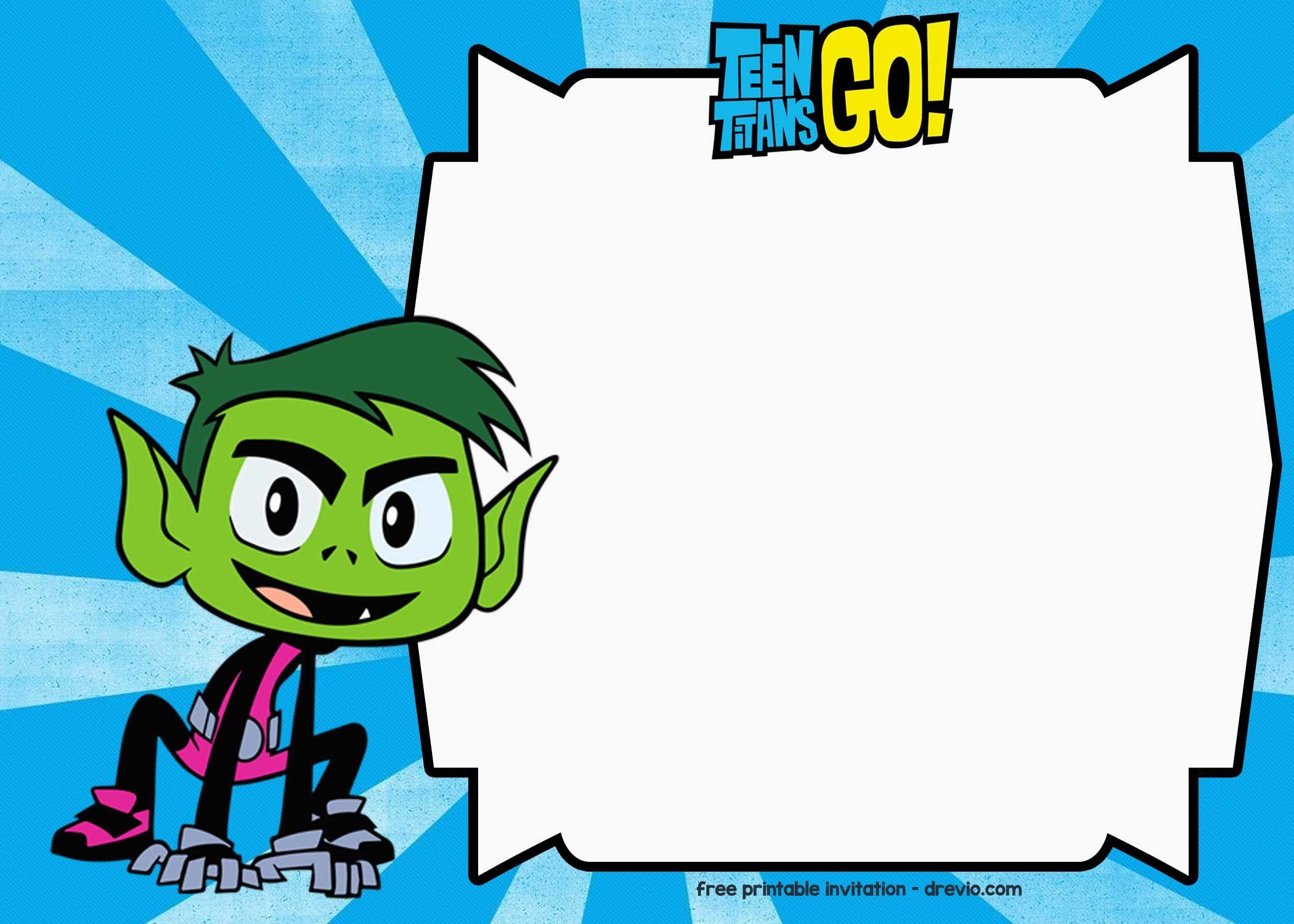 Teen Titans Go birthday Invitation Template - FREE Printable for ...