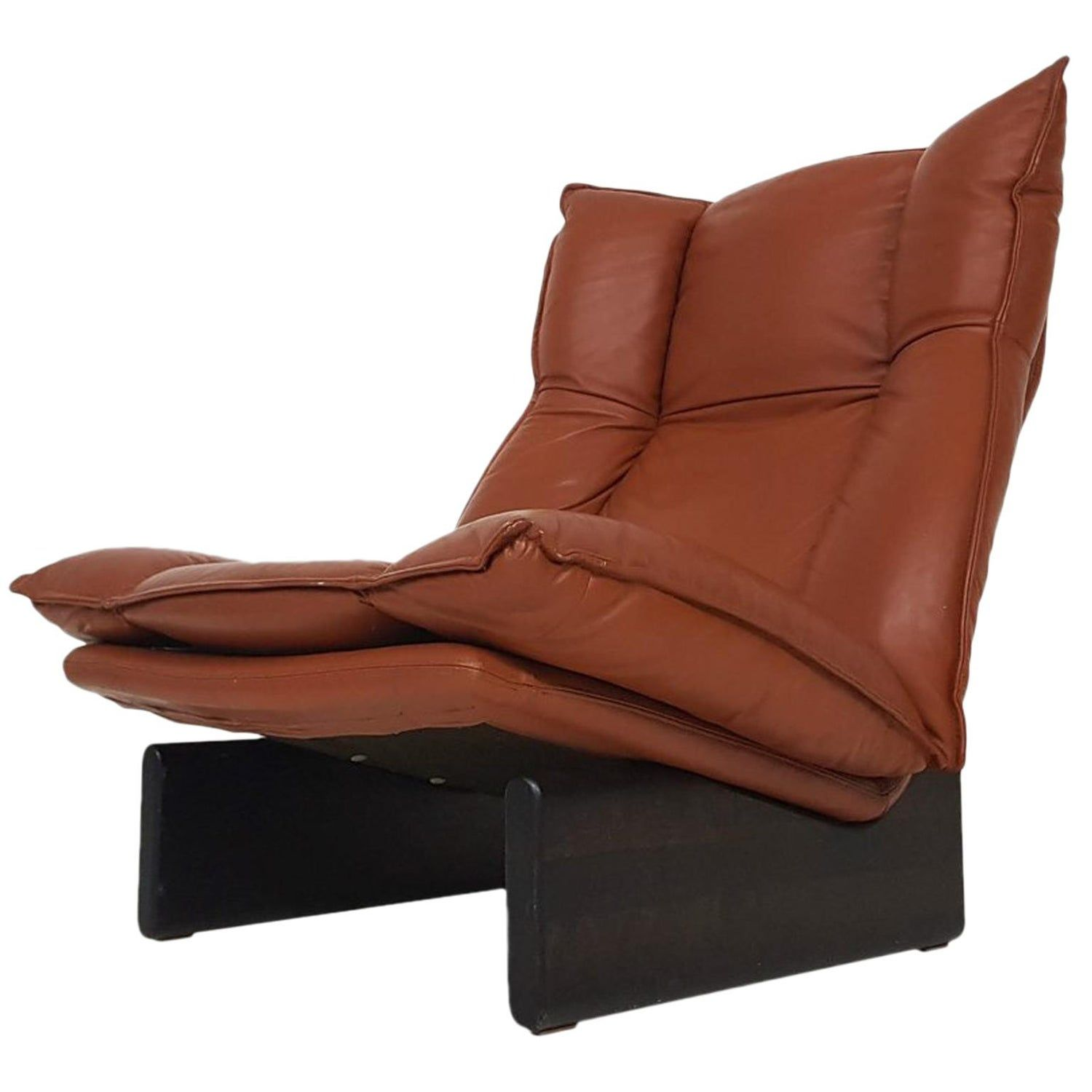 Tremendous De Sede Leather Wood Leolux 1970S Modern Dutch Lounge Chair Gmtry Best Dining Table And Chair Ideas Images Gmtryco