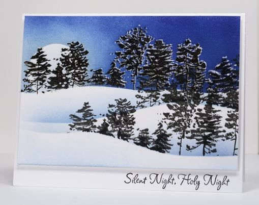 Heather Telfords' masterful card: stamp an image twice, once in versamark then again slightly lower in black ink before embossing in clear powder. After sponging over the double stamped image any branches or trees appear to have snow sitting on them