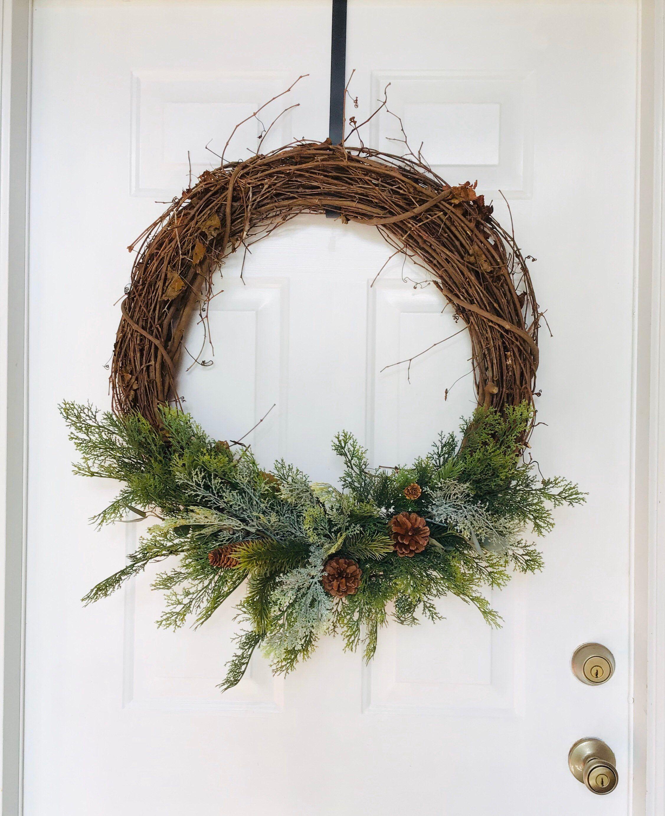 "Photo of Large 24′"" Grapevine Wreath, Winter Wreath, Winter Greenery, Winter Pine Cones, Christmas Wreath"