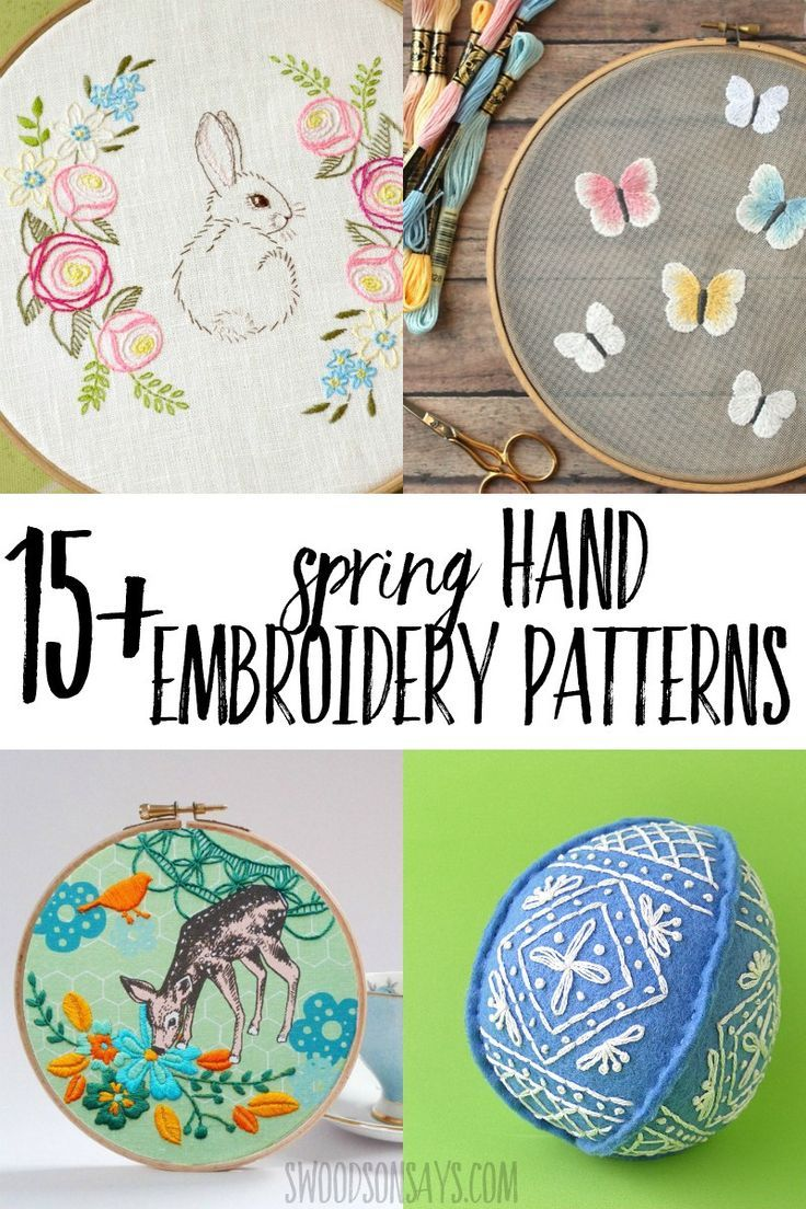 15 pretty spring embroidery patterns Kick off warmer weather by stitching a spring hand embroidery pattern Full of floral embroidery designs spring animals and pretty pas...