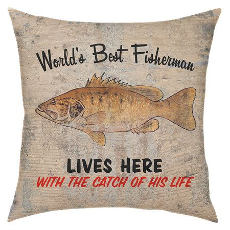 Throw Pillow With A Fishing Inspired Motif Product Pillowconstruction Material Cotton And