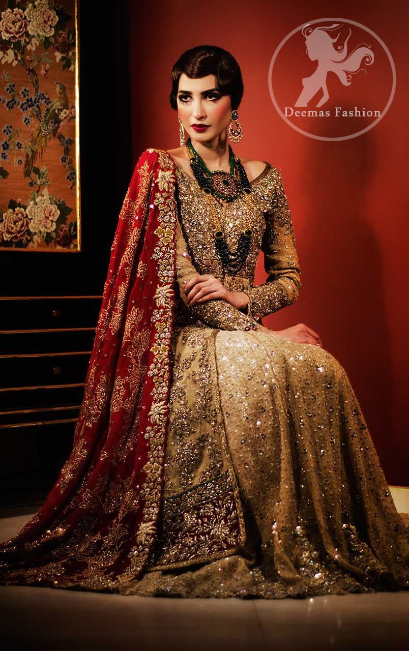 c469901b65 Golden Front Open Back Trail Gown - Bridal Lehenga - Deep Red Dupatta