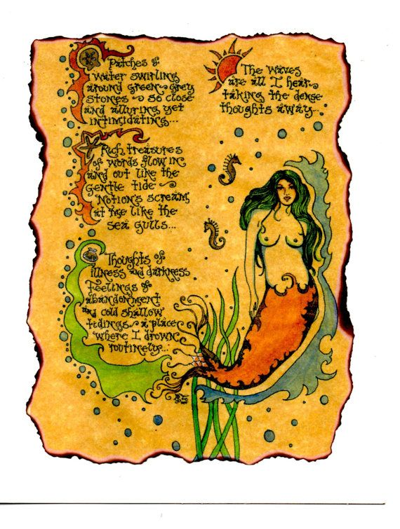 Check out this item in my Etsy shop https://www.etsy.com/listing/169383452/contemplations-mermaid-poetry-art