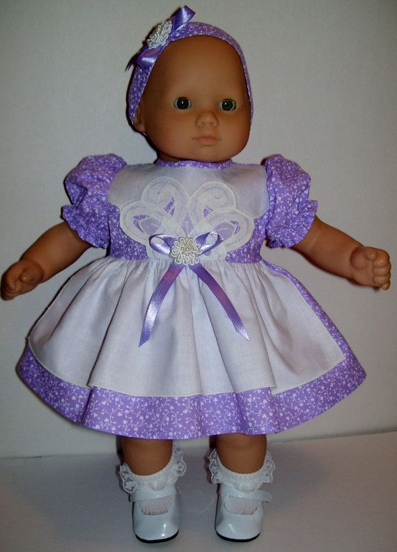 Lilac apron dress and headband for Bitty Baby by KathyAnneDesigns, $17.99