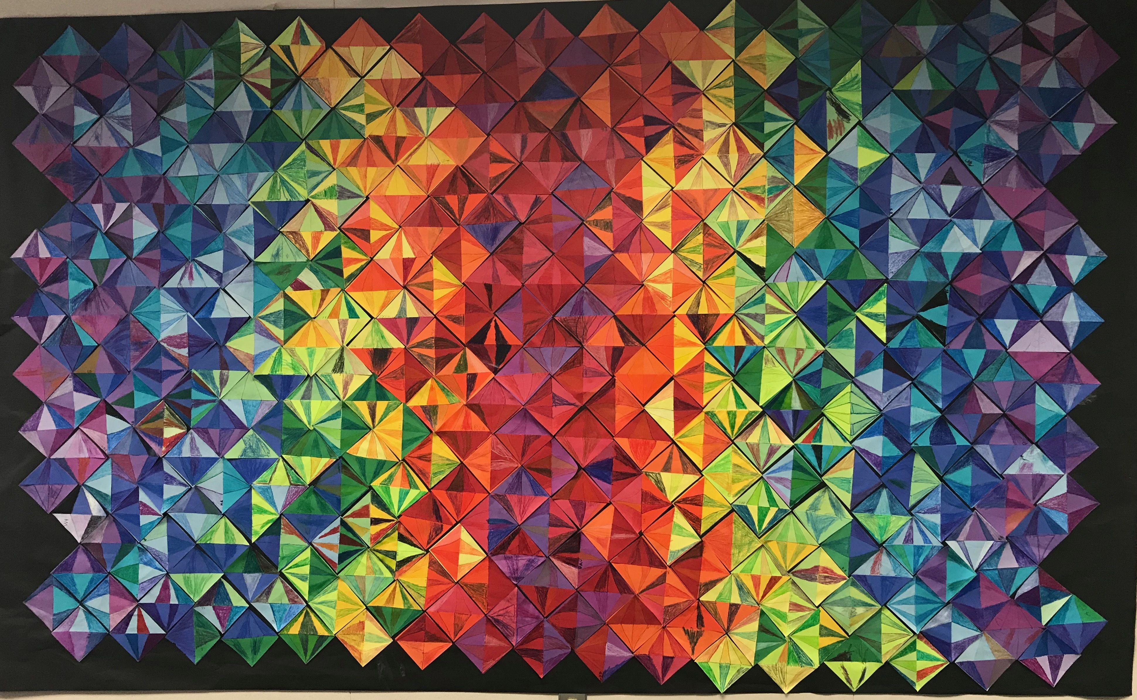 Elementary school collaborative paper quilt inspired by