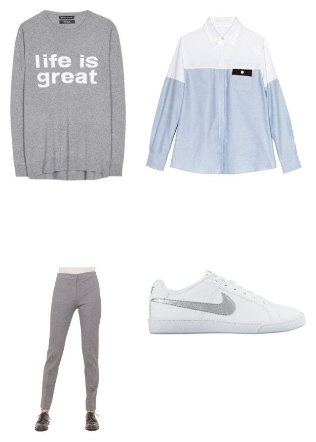 """""""gray happiness and depression"""" by lovethingsthatkill ❤ liked on Polyvore featuring Thakoon Addition, Each X Other, Akris Punto and NIKE"""