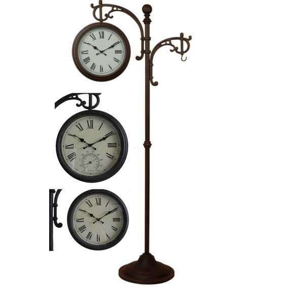 Wonderful Hi Line Gift OUTDOOR CLOCK With THERMOMETER/PLANT HANGER ON STAND .