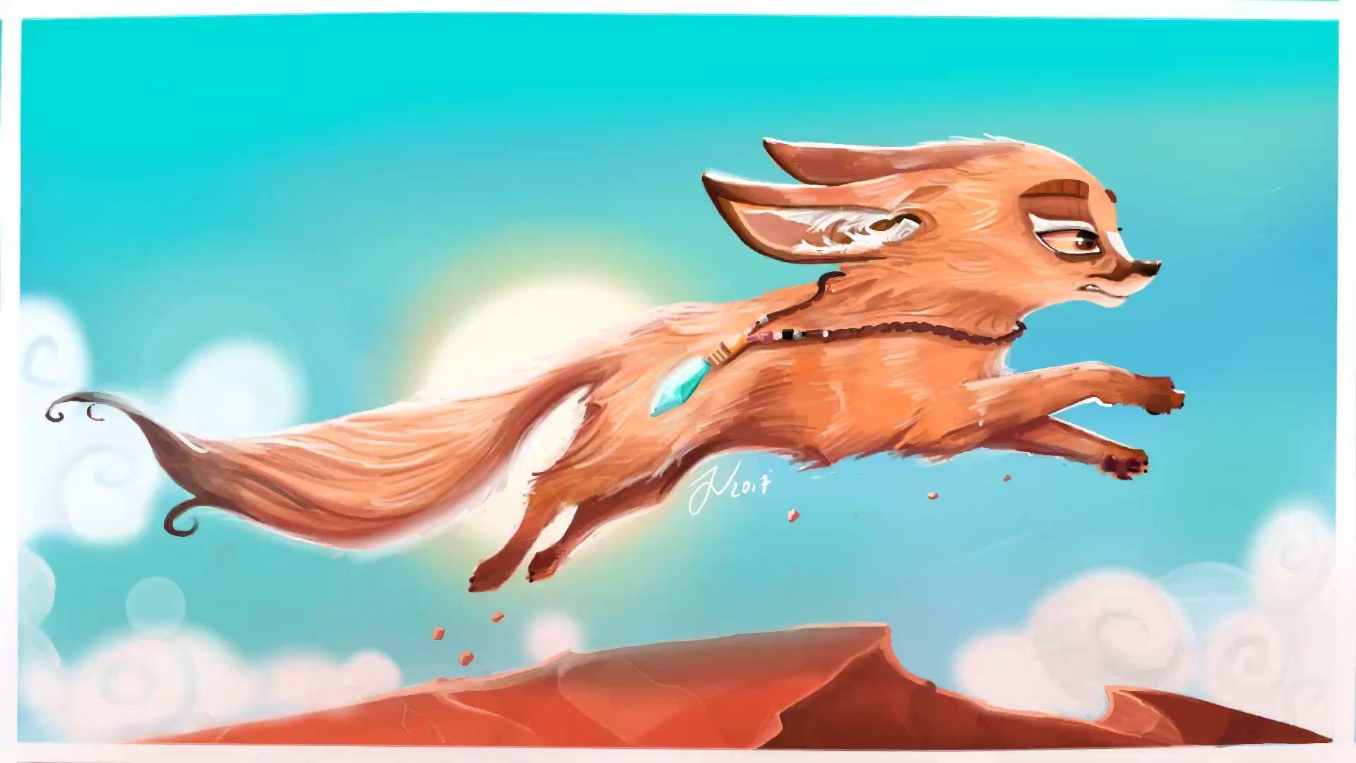 Fennec fox running in hot desert sun. #fennec #fox #procreate #art #digital #desert #sun