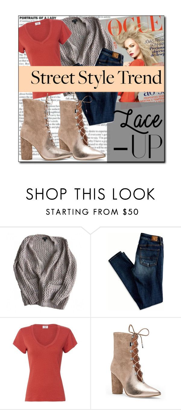"""""""Lace up booties"""" by fashion-film-fun ❤ liked on Polyvore featuring Topshop, American Eagle Outfitters, RE/DONE and Sigerson Morrison"""