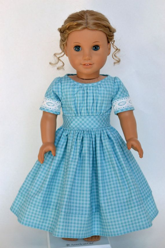 American Girl 18 Inch Historical Doll Dress Civil War Victorian Marie-Grace Cecile - Sky Blue Gingham #historicaldollclothes