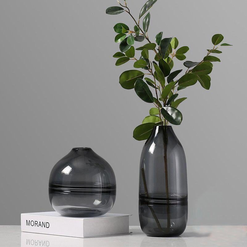 Modern Fashion Luxury Crystal Light Black Glass Vase For Flower
