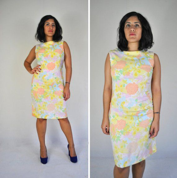 a3c1358fab 1960s Pastel Floral LINEN Dress - Small Medium Mod High neck Sleeveless  Cotton Sheath Shift Wiggle W