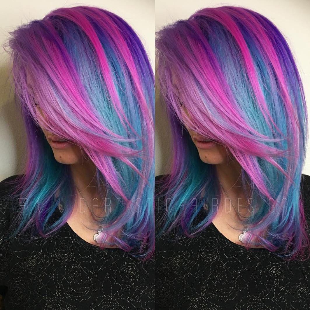 blue and purple hair ideas teal hair pink highlights and hair