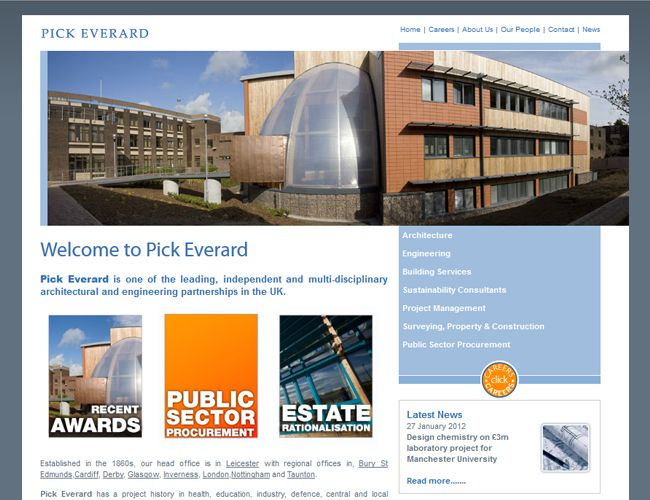 Web Design Leicester By Clientel Systems Ltd Www Pickeverard Co Uk Pick Everard Is One Of The Leading Independent And M Web Design Design Architecture