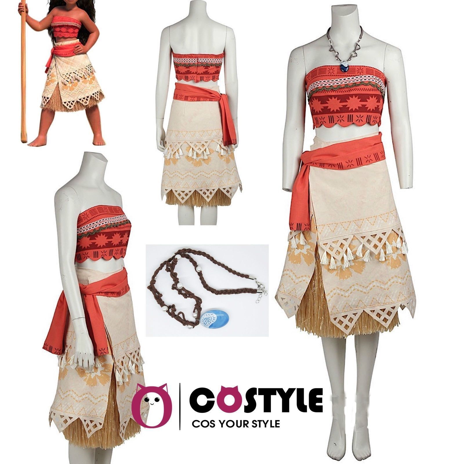 Halloween Moana Costume Hawaiian Princess Fancy Cosplay Dress+Necklace Set