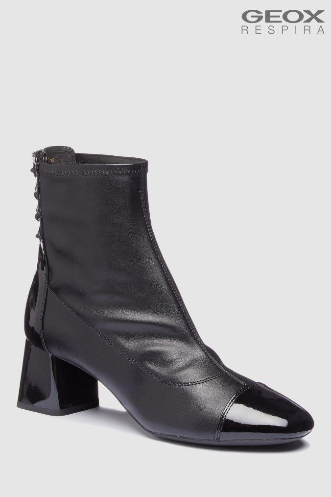 cea2b61e0a159 Womens Geox Seylise Mid Black Heeled Leather Ankle Boot - Black Buy Geox  Seylise Mid Black