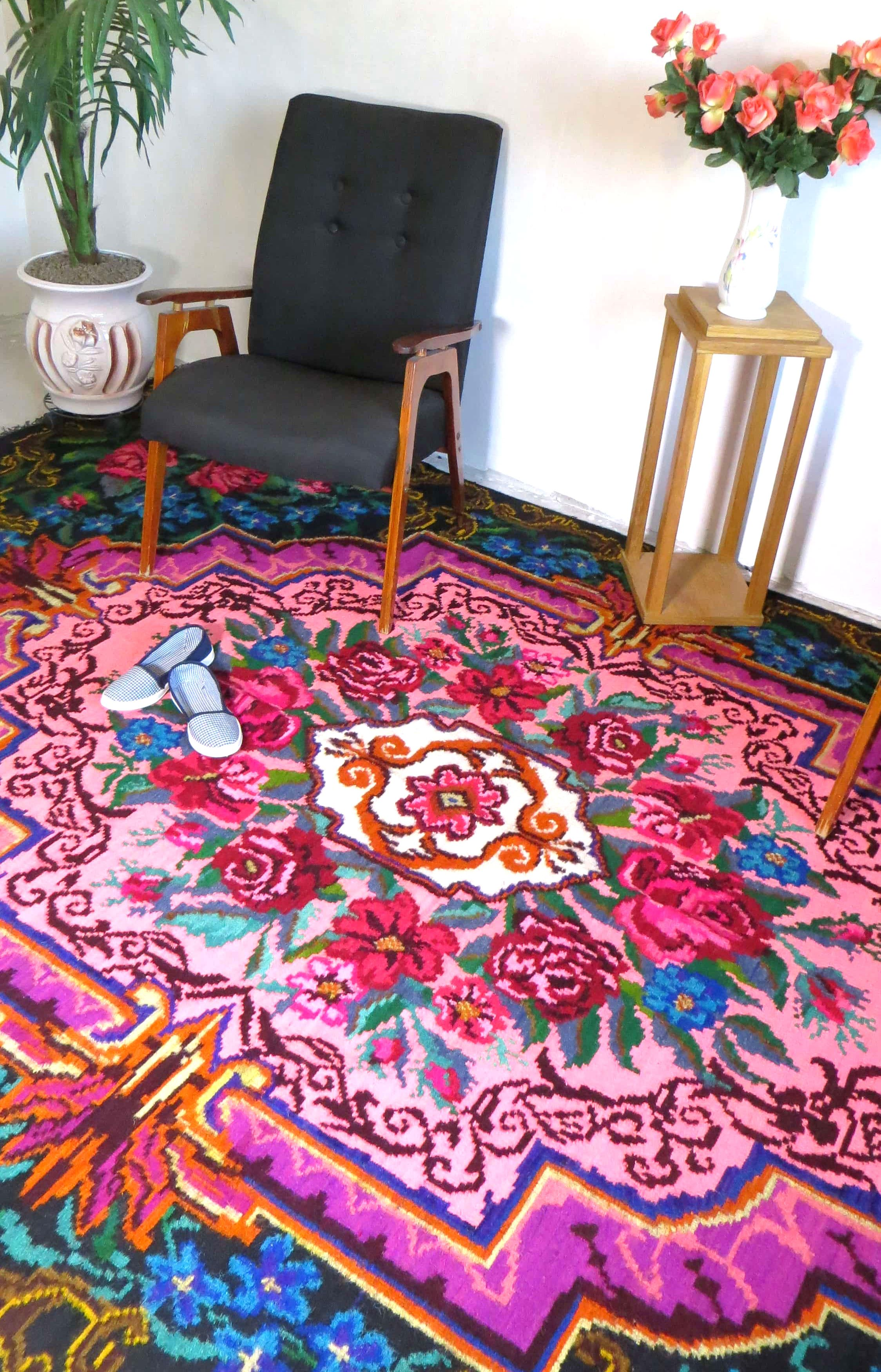 Top 1.83x3.15m/6.00x10.33ft,rose kilim rug,floral area rug,bohemian  RS52