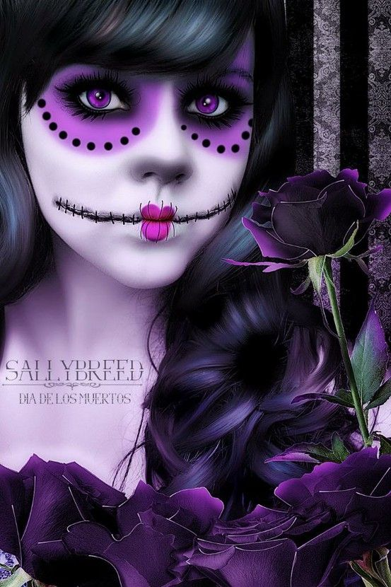 Purple and Black Day of the Dead makeup idea Halloween - Purple Halloween Makeup Ideas