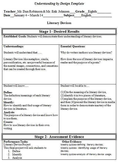 Understanding By Design Lesson Plan Template  Google Search
