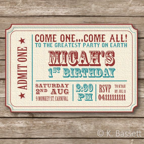Vintage Circus Theme Birthday Party Invitation- 6 x 4 inch Printable - best of invitation for 1st birthday party free