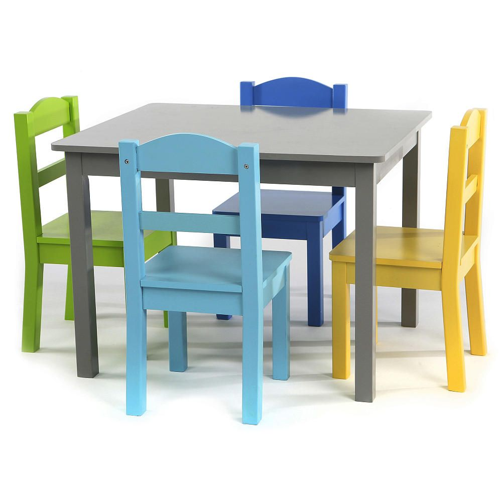 The Tot Tutors Elements Wood Table and 4 Colored Chairs Set is the ...