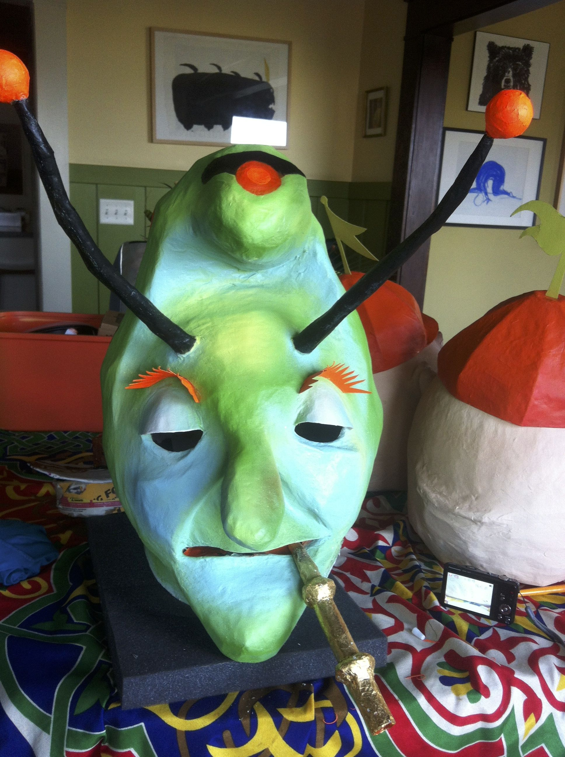 The Caterpillar Halloween costume paper mache mask Alice in ...