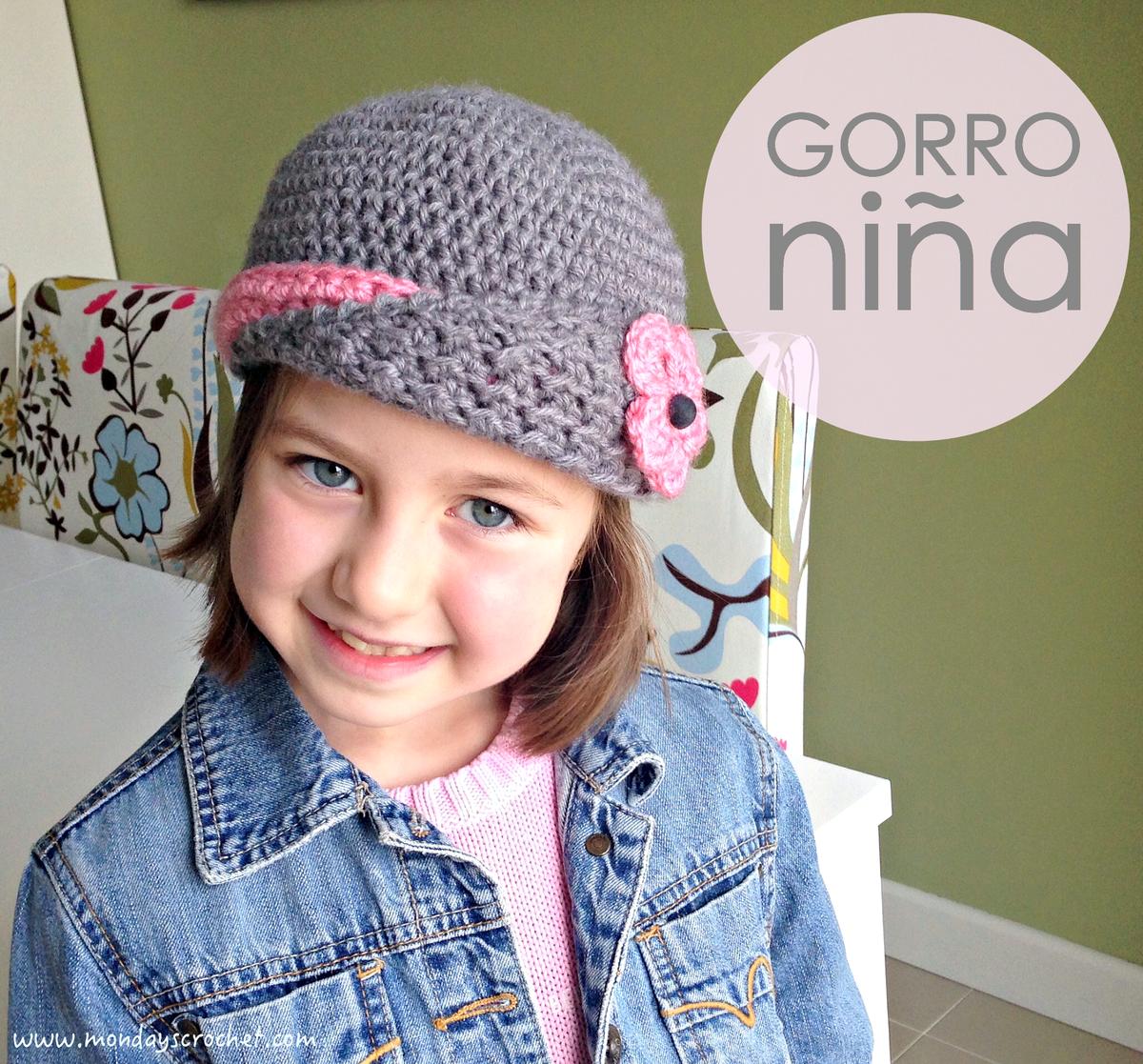 Gorro de crochet para niña, ¡con patrón de puntos! | Tricotar ...