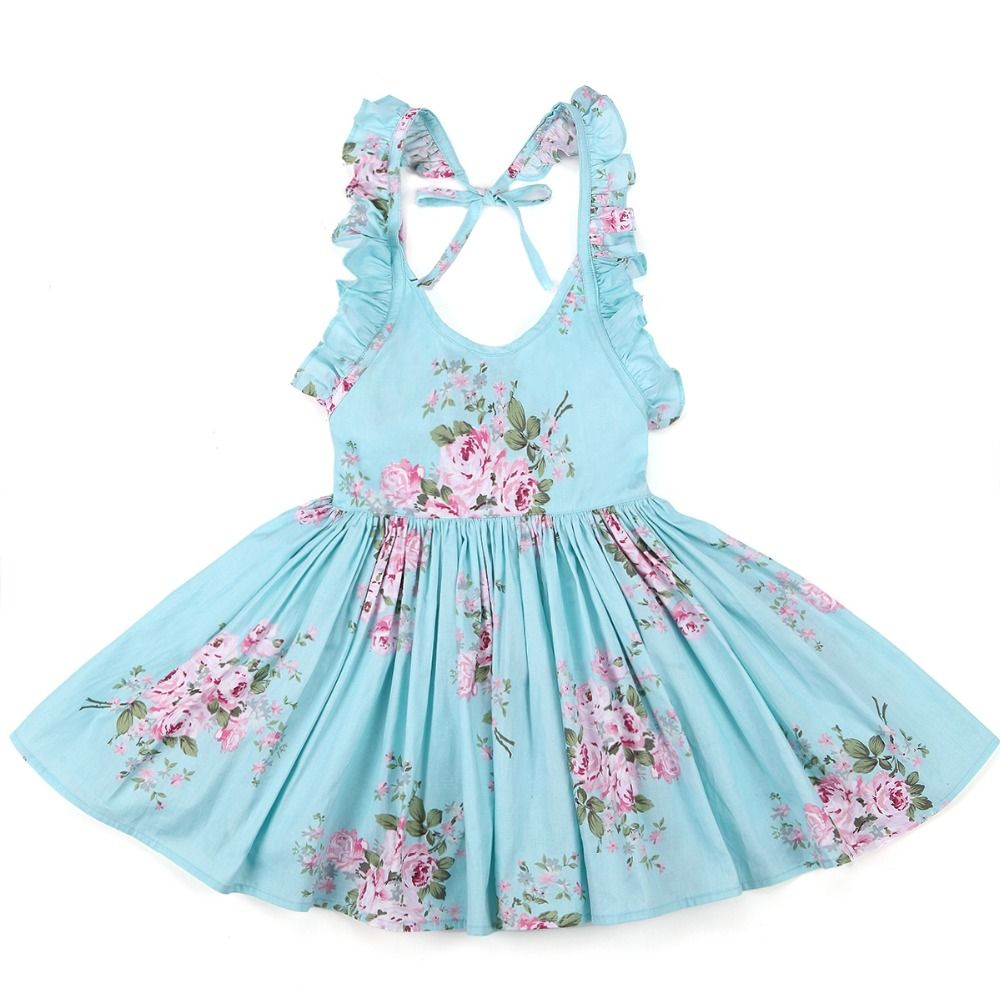 Baby Girls Dress Brand Summer Beach Style Floral Print Party ...