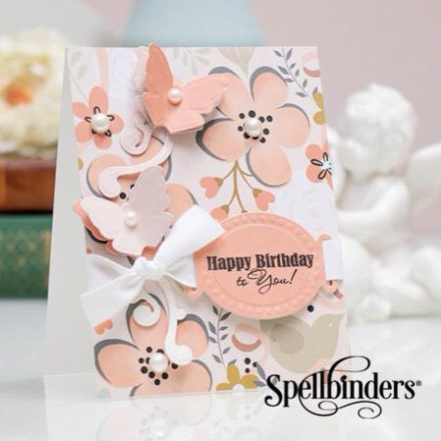 Visit our #Spellbinders Idea Gallery for this beautiful #floral card by designer: Yana Smakula | @letrodectus  Yana created this feat. our new #Sapphire machine & dies!  #spellbinderdies #diecut #cardmaking #butterflies #happybirthday #friend #happy #birthday