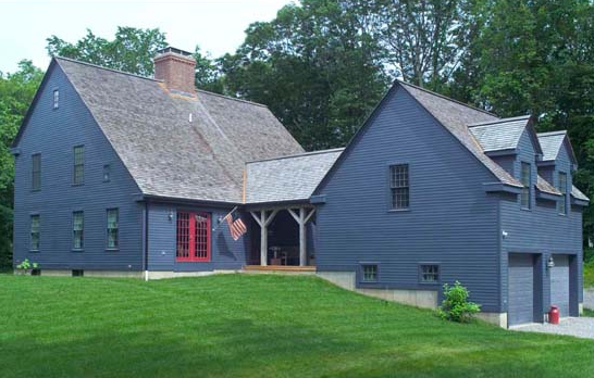 Beautiful blue farmhouse tr building remodeling for Saltbox house additions