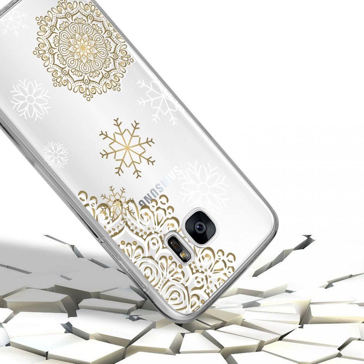 2e9fd34631e0f9 Coque Samsung Galaxy S7 Edge 360 Intégrale Transparente, Flocon Mandala,  Evetane® - Taille