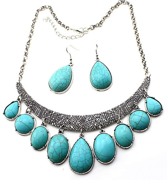 Buy Teardrop Turquoise Bar Necklace And Earring Set at Style Moi