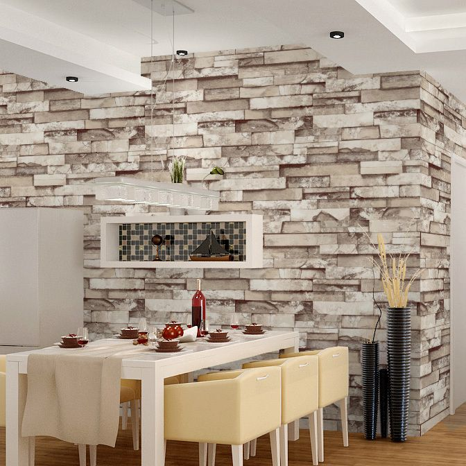 Haokhome 3d Stone Brick Print Vinyl Wallpaper 0 53m 10m Modern Style For Art Bar Living Room Wholesa Brick Wall Wallpaper Wallpaper Living Room Living Room Bar