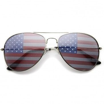 036e0dccf361 grinderPUNCH® American Flag Aviator Sunglasses Glasses Silver Color  Protection American flag dot imprint on lens Patriotic and proud Aviator  shape with ...