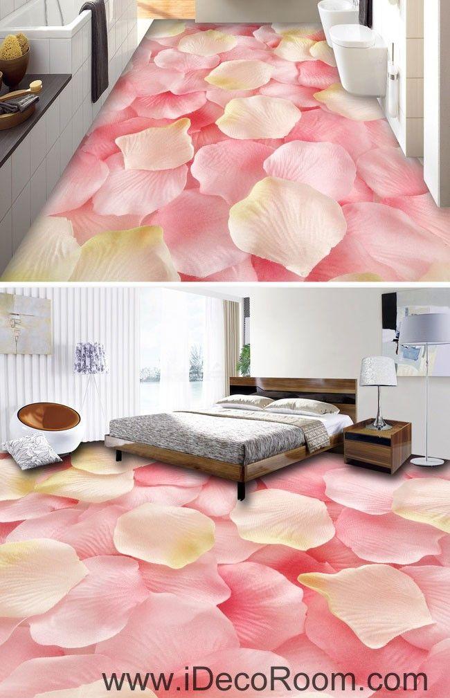 Pink Rose Petals Full 00047 Floor Decals 3D Wallpaper Wall Mural Stickers Print Art Bathroom Decor Living Room Kitchen Waterproof Business Home Office Gift