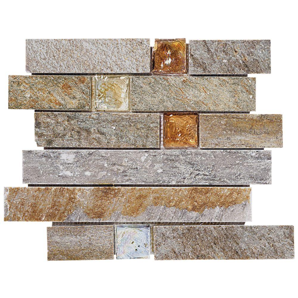 Fire Ice Brick Mosaic Quartz 11 75x10 5 90070 Jeffrey Court Showroom Designer Collection