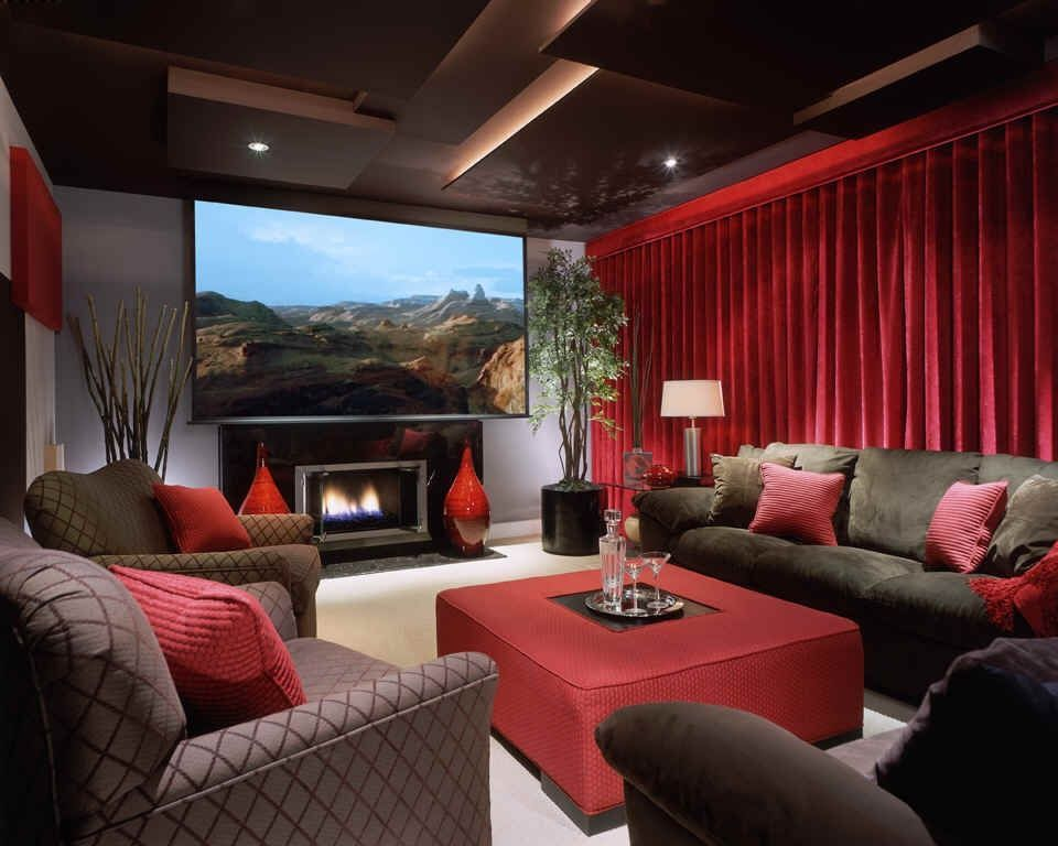 Contemporary Home Theater With Maifa Red Velvet Window Curtain Drape Stone Fireplace High Ceiling Carpet