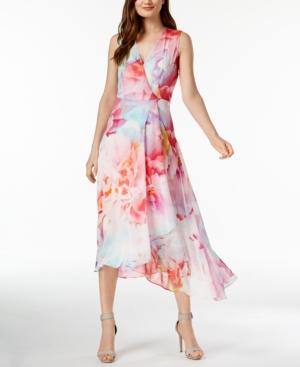 60c34b0f4c7 CALVIN KLEIN FLORAL-PRINT SURPLICE DRESS