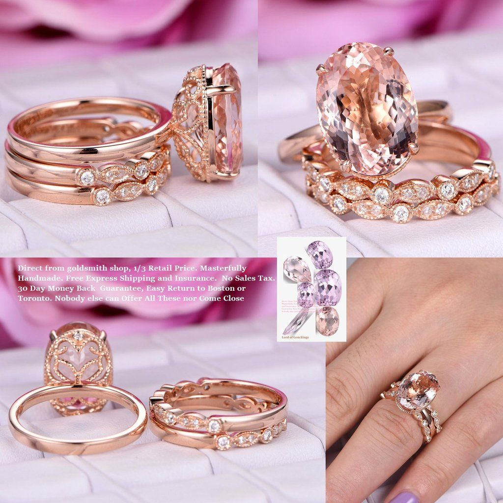 Elongated Oval Morganite Engagement Ring Sets Art Deco Diamond Bands ...