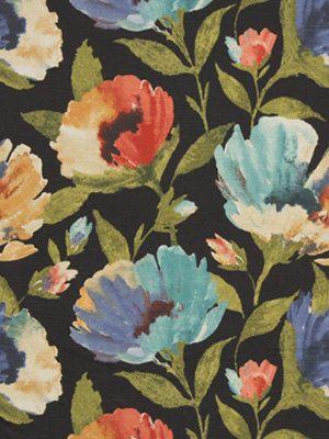 Modern Black Fabric Floral Upholstery Yardage Orange Aqua