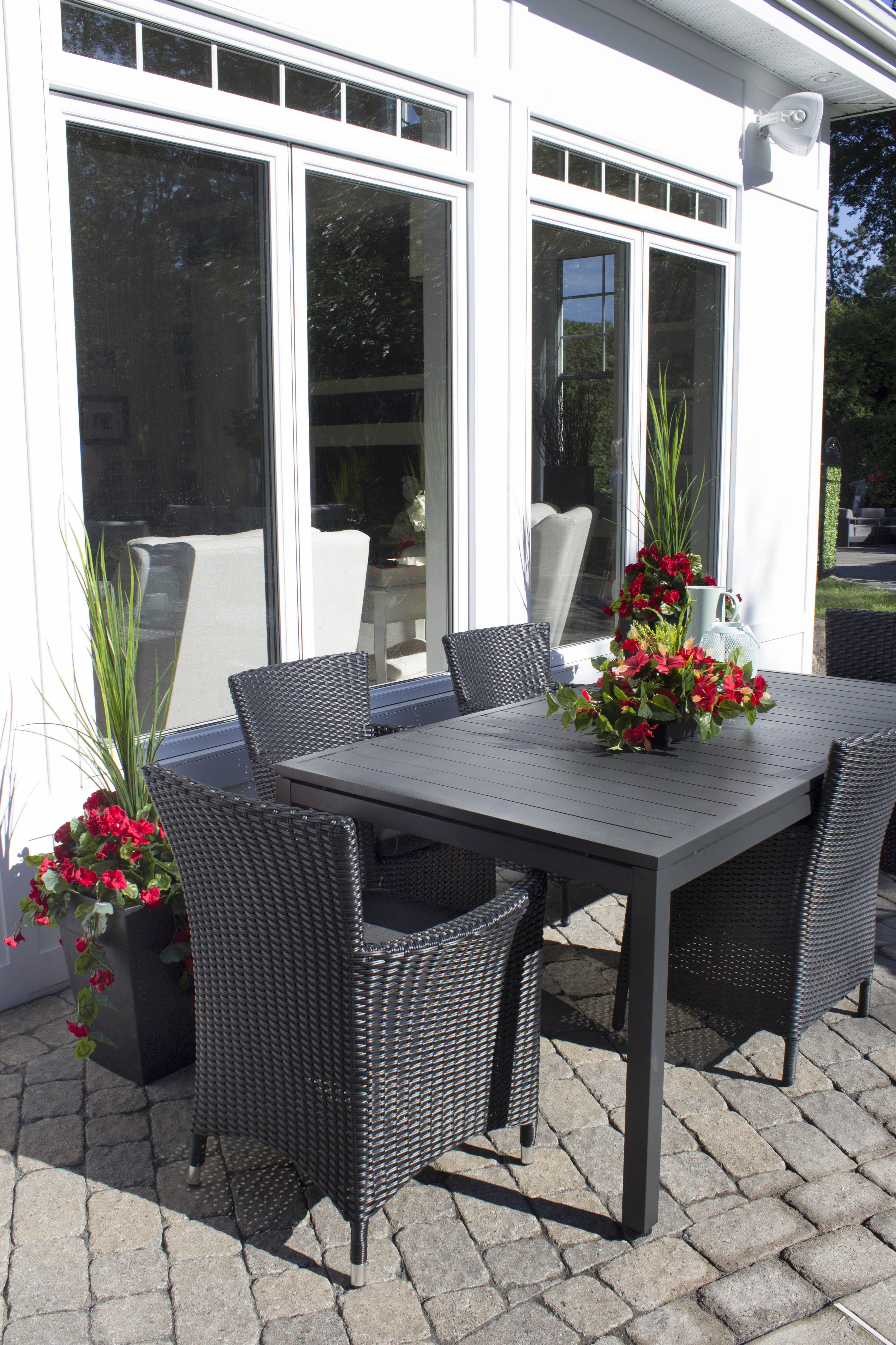 Modern outdoor space with artificial plants