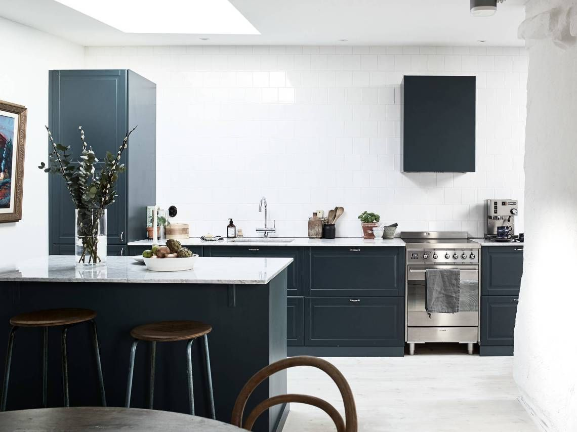 Petrol blue kitchen   Small kitchen renovations, Blue ...