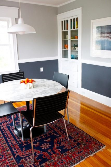 2 Tone Gray Walls... Interesting. Dining Room ...