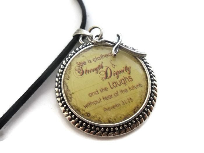 Proverbs Woman Strength & Dignity Necklace | Bible Quote Necklace | Cross Charm