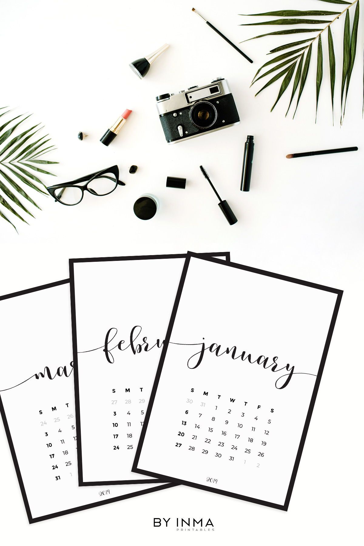 Minimalist Calendar 2019 Printable Print It On White Or Kraft