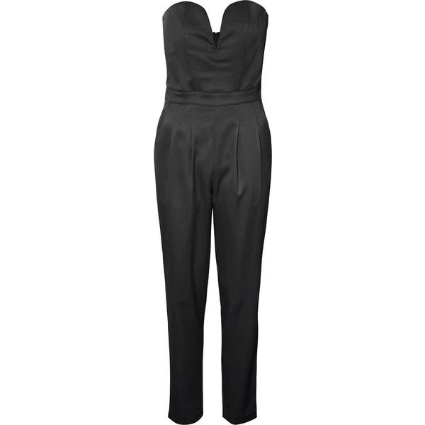 47c61b1cb2 Black Sweetheart Jumpsuit (€53) ❤ liked on Polyvore featuring jumpsuits