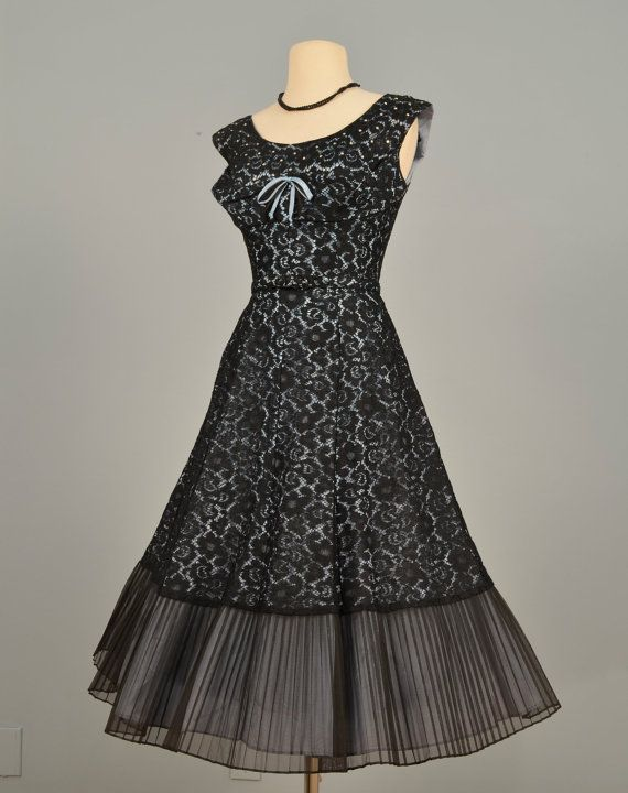 Vintage 1950s Party Dress...Beautiful Midnight Black by deomas